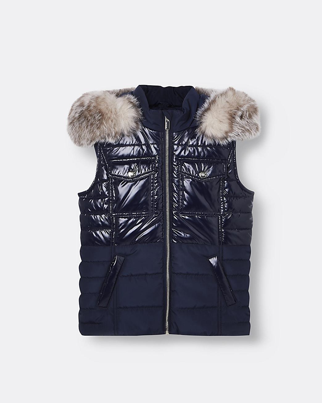 Girls navy padded faux fur hood gilet