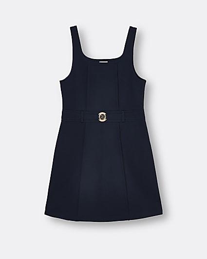 Girls navy ponte pinafore dress
