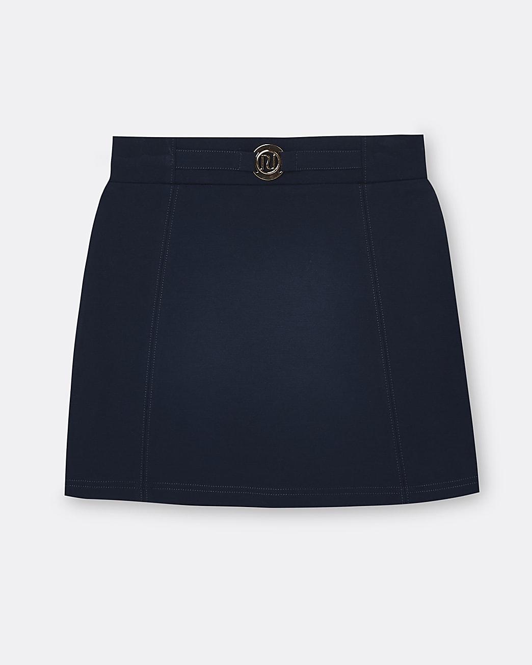 Girls navy ponte skirt