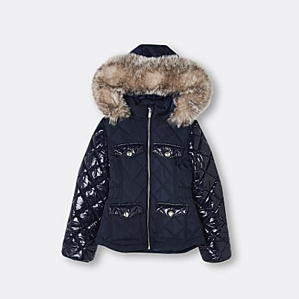 Girls navy quilted puffer coat