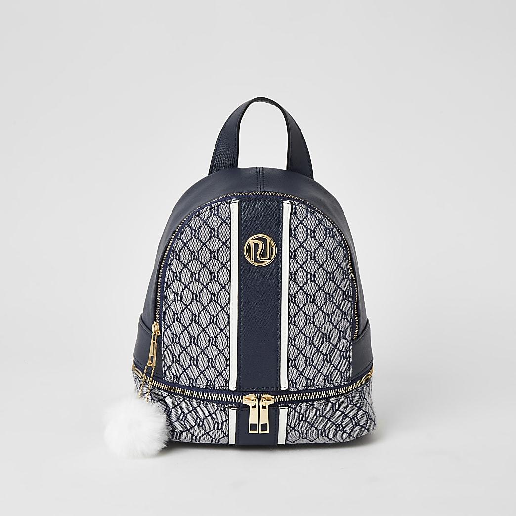Girls navy RI monogram jacquard backpack