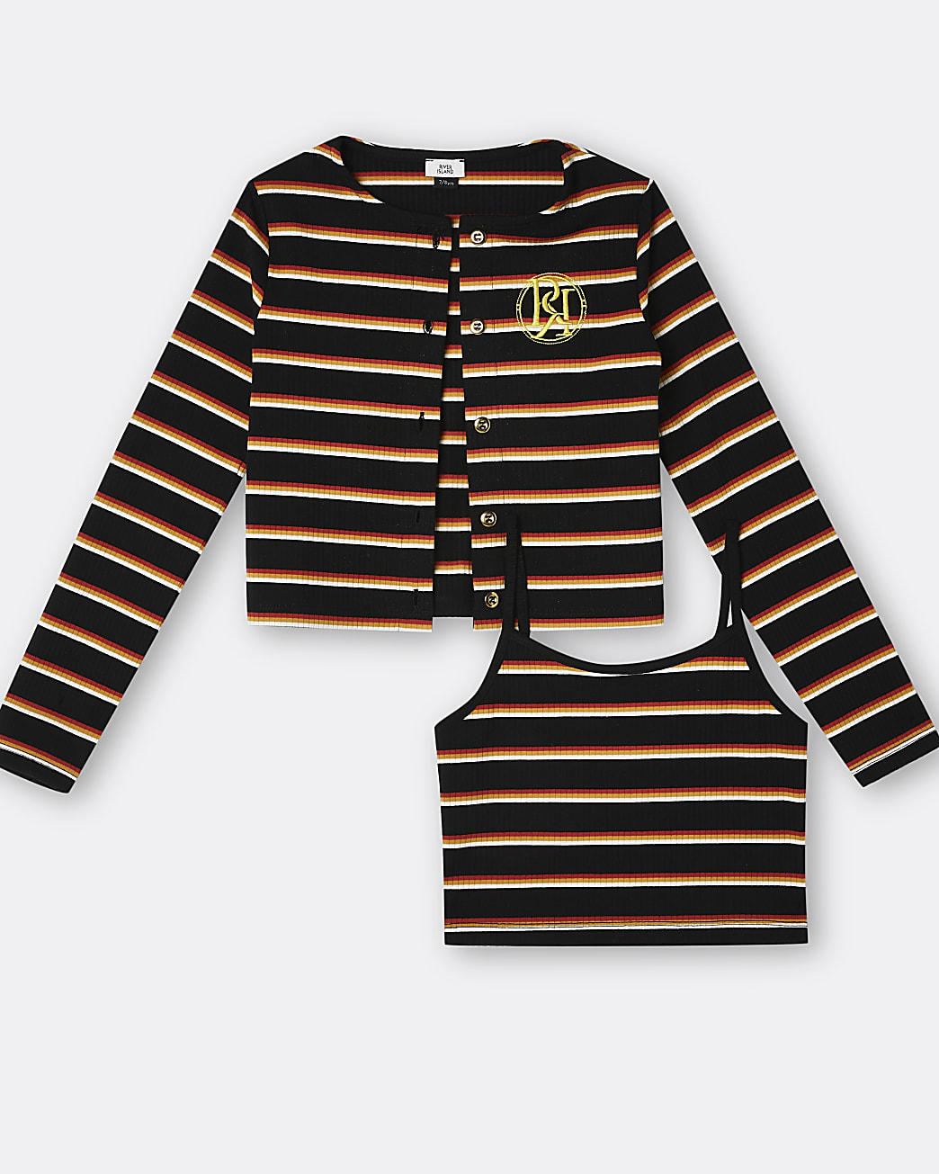 Girls navy RI stripe cami and cardigan set