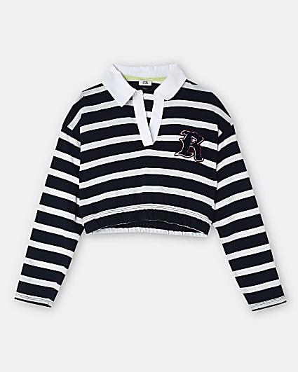 Girls navy RI stripe collar long sleeve top