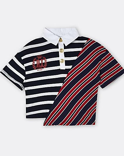 Girls navy RI stripe collar t-shirt