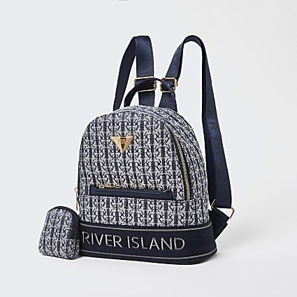 Girls navy RIR jacquard backpack