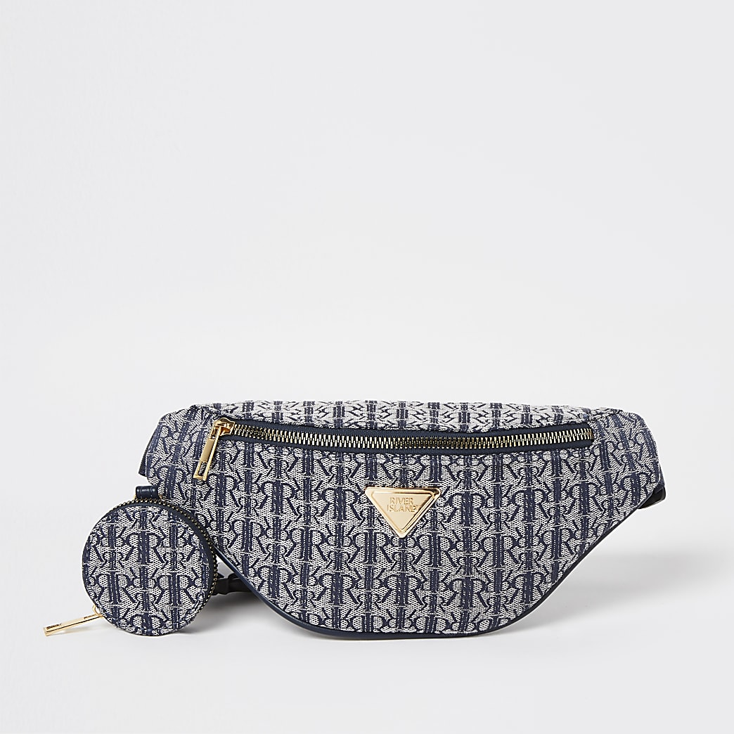 Girls navy RIR jacquard bumbag