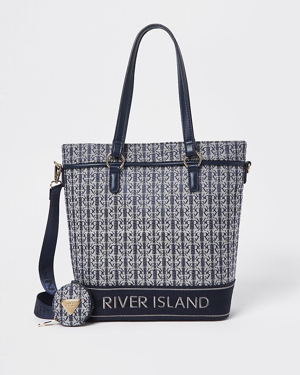 Girls navy RIR jacquard navy shopper bag