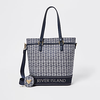 Girls navy RIR jacquard navy shopper bag