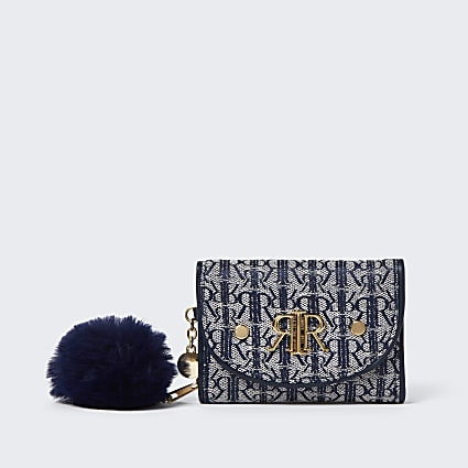 Girls navy RIR jacquard trifold purse