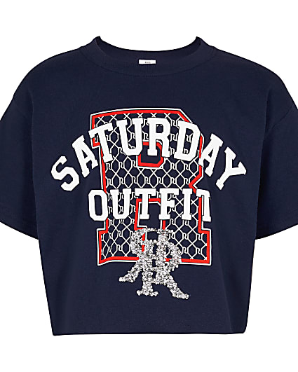 Girls navy 'Saturday outfit' printed t-shirt