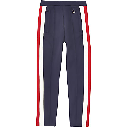 Girls navy stripe joggers