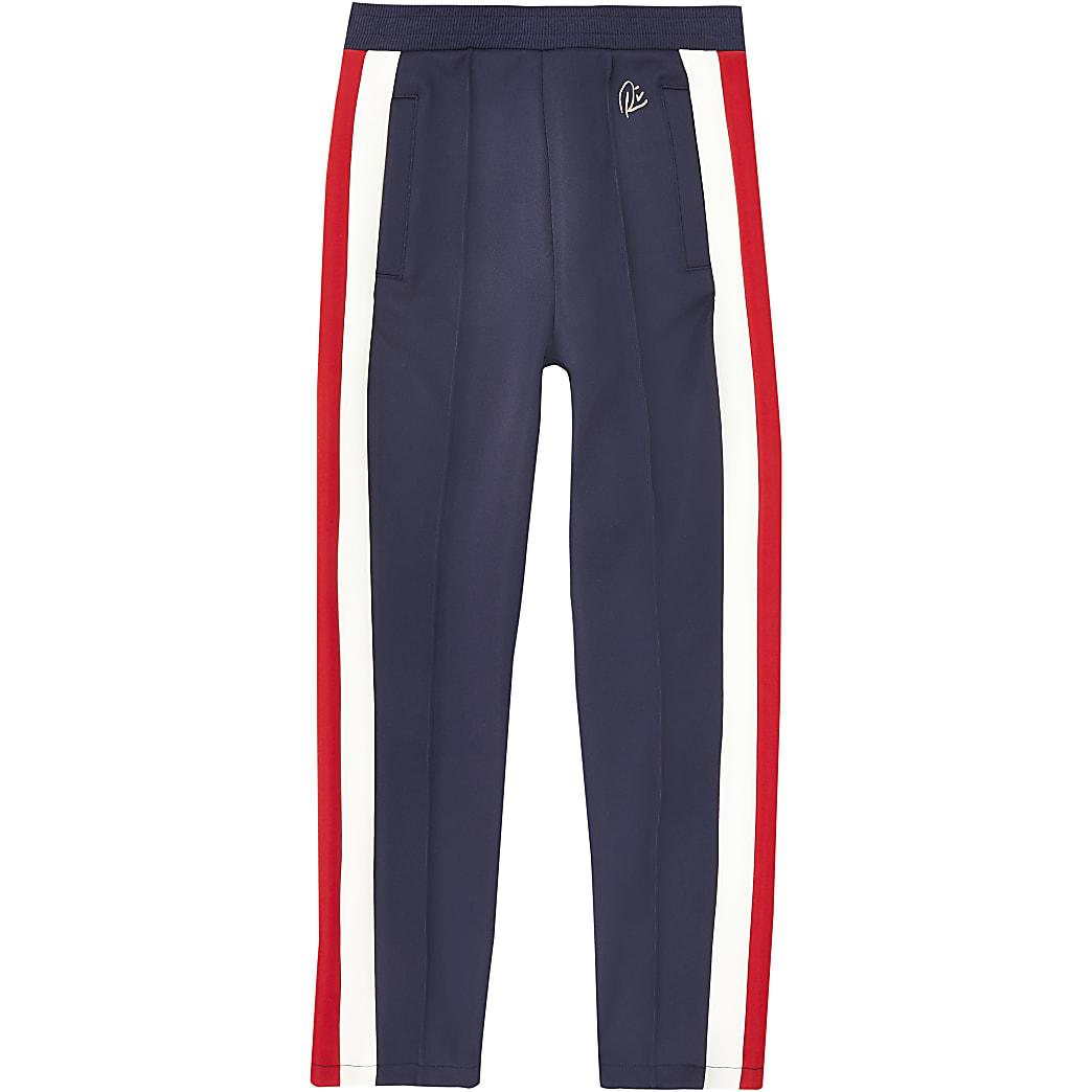 Girls navy stripe joggers