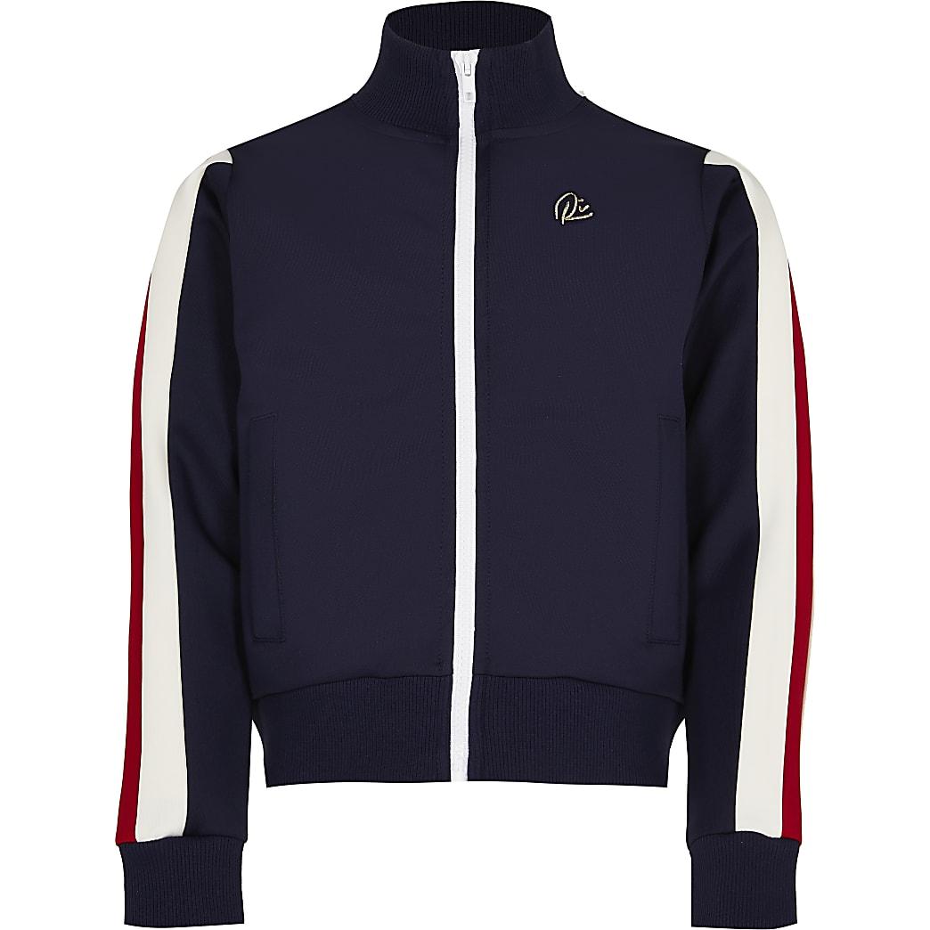 Girls navy stripe zip front sweatshirt