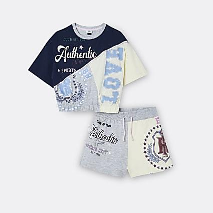 Girls navy varsity t-shirt and shorts outfit