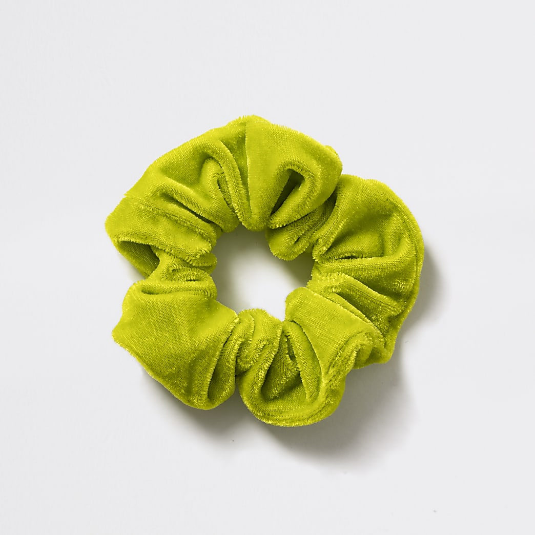 Girls neon green velvet scrunchie