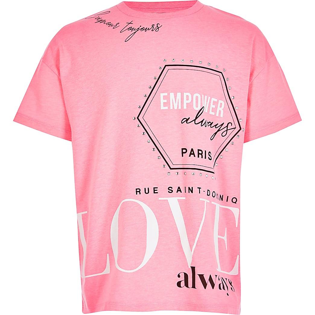 Girls neon pink printed T-shirt