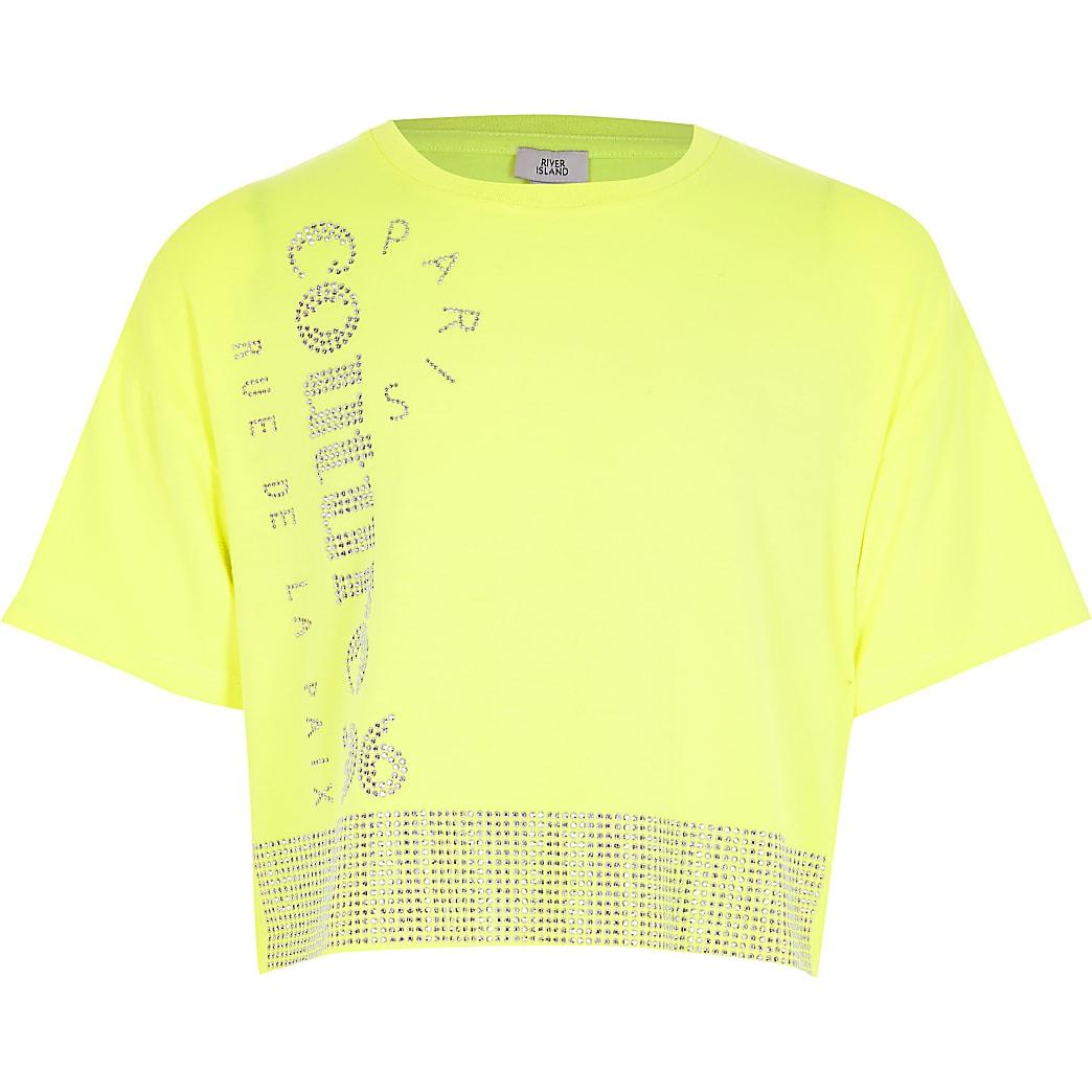 Girls neon yellow 'Couture' diamante T-shirt