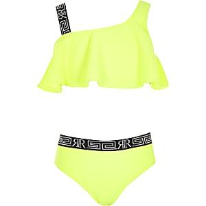 Neongelbes One-Shoulder-Bikini-Set für Mädchen