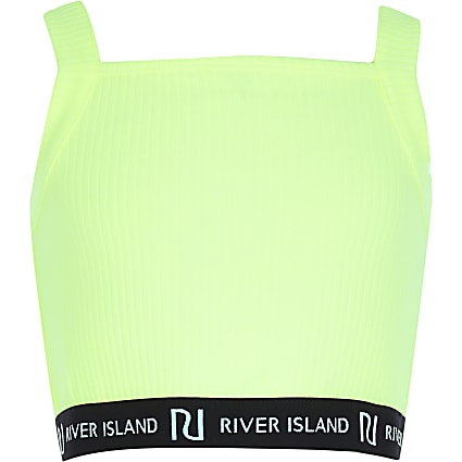 Girls neon yellow RI square neck crop top