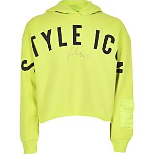 Neongele hoodie met 'Style icon'-print voor meisjes