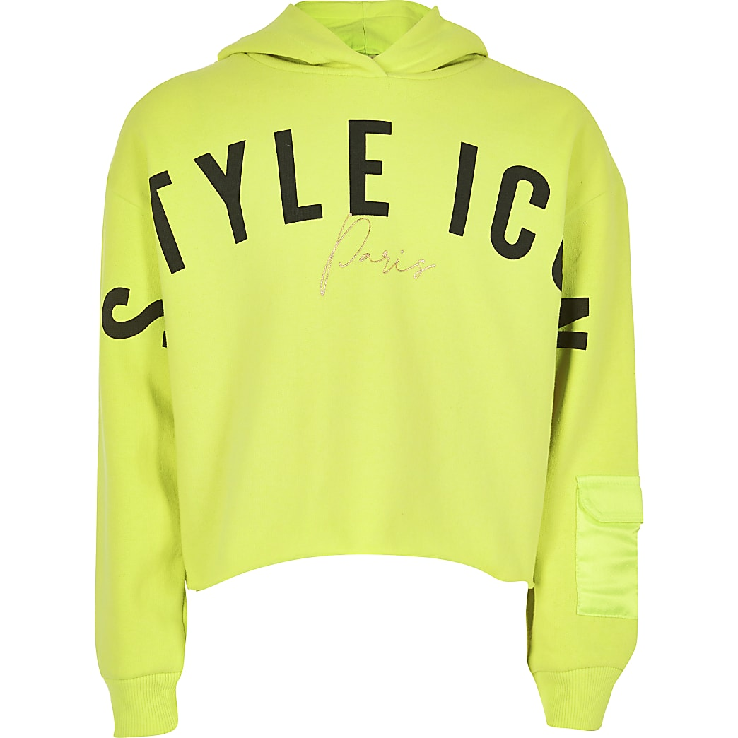 Girls neon yellow 'Style icon' hoodie