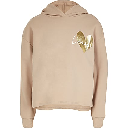 Girls nude 'L'Amour' print hoodie