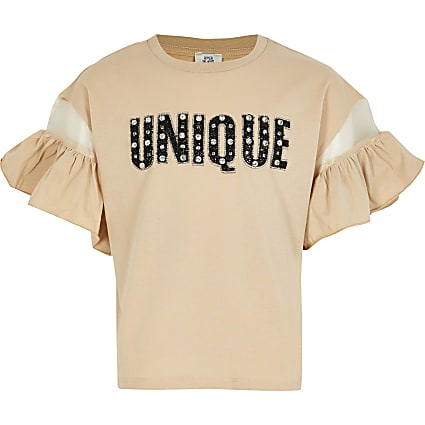 Girls nude 'Unique' frill sleeve t-shirt