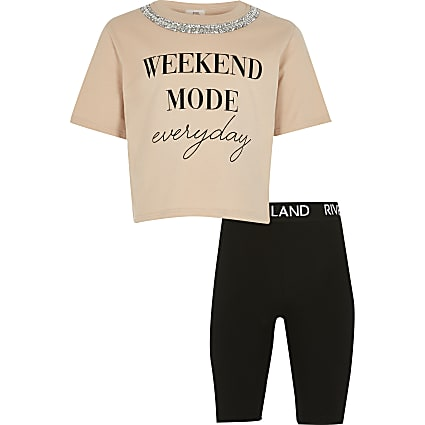 Girls nude 'Weekend Mode' t-shirt outfit