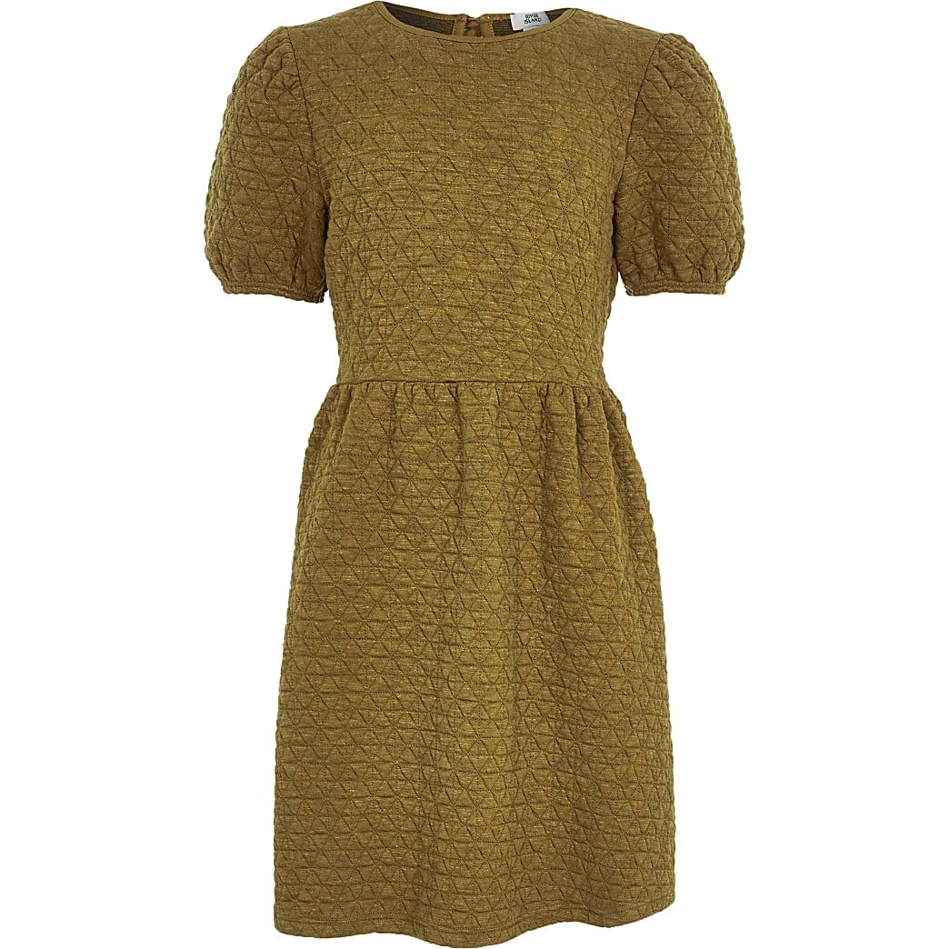 Girls ochre textured smock dress