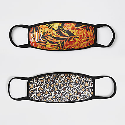Girls orange 2pk leopard face covering
