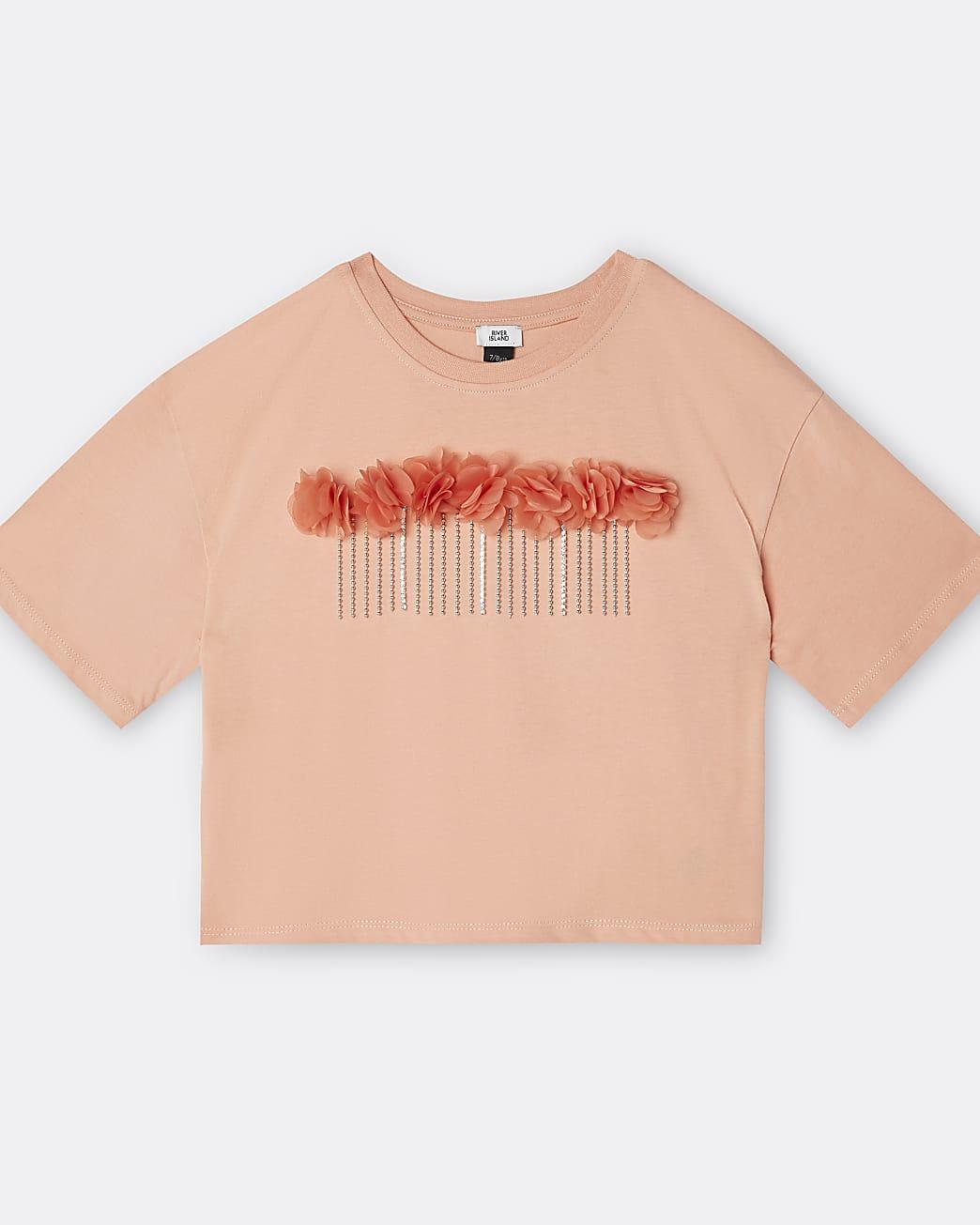 Girls orange 3D flower chain trim t-shirt