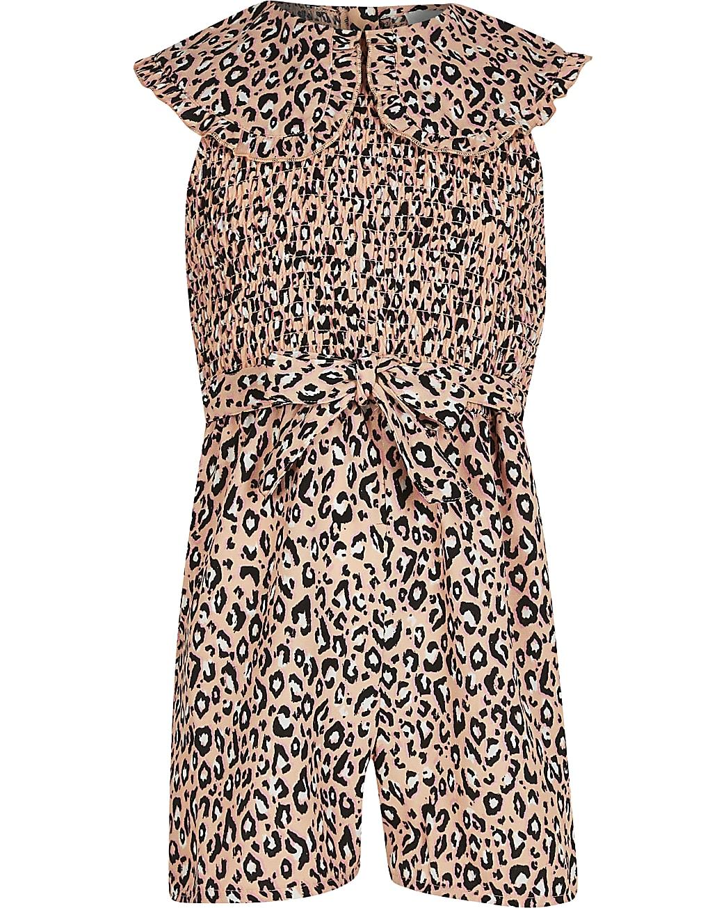 Girls orange animal print collar playsuit