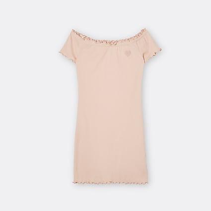 Girls orange bardot neck shift dress