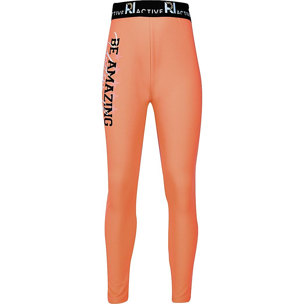 Girls orange 'Be Amazing' RI Active leggings