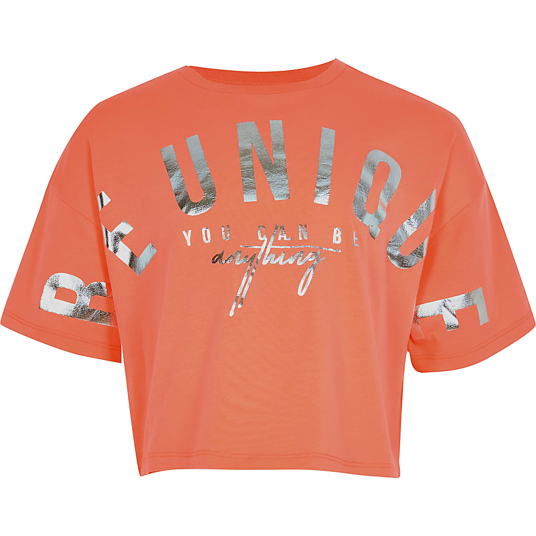 Girls orange 'Be Unique' print t-shirt