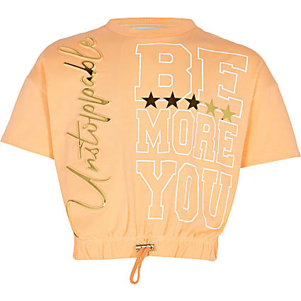 Girls orange 'Be You' RI Active t-shirt