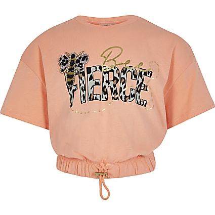 Girls orange 'Bee Fierce' cropped t-shirt