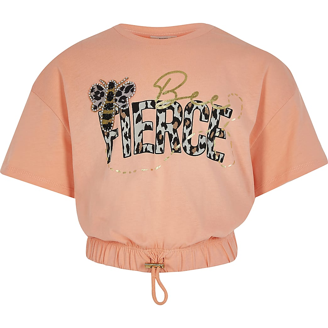 Girls orange 'Bee Fierce' cropped t-shirt