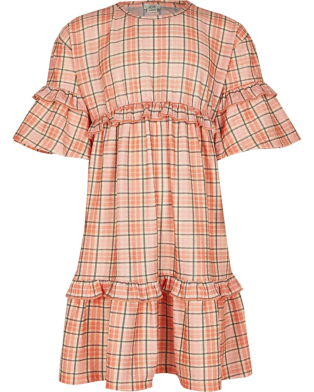Girls orange check print frill t-shirt dress