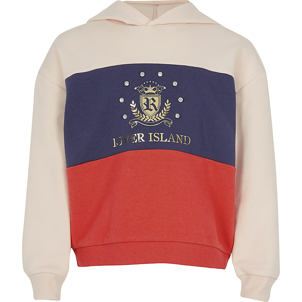 Girls orange colour block RI crest hoodie