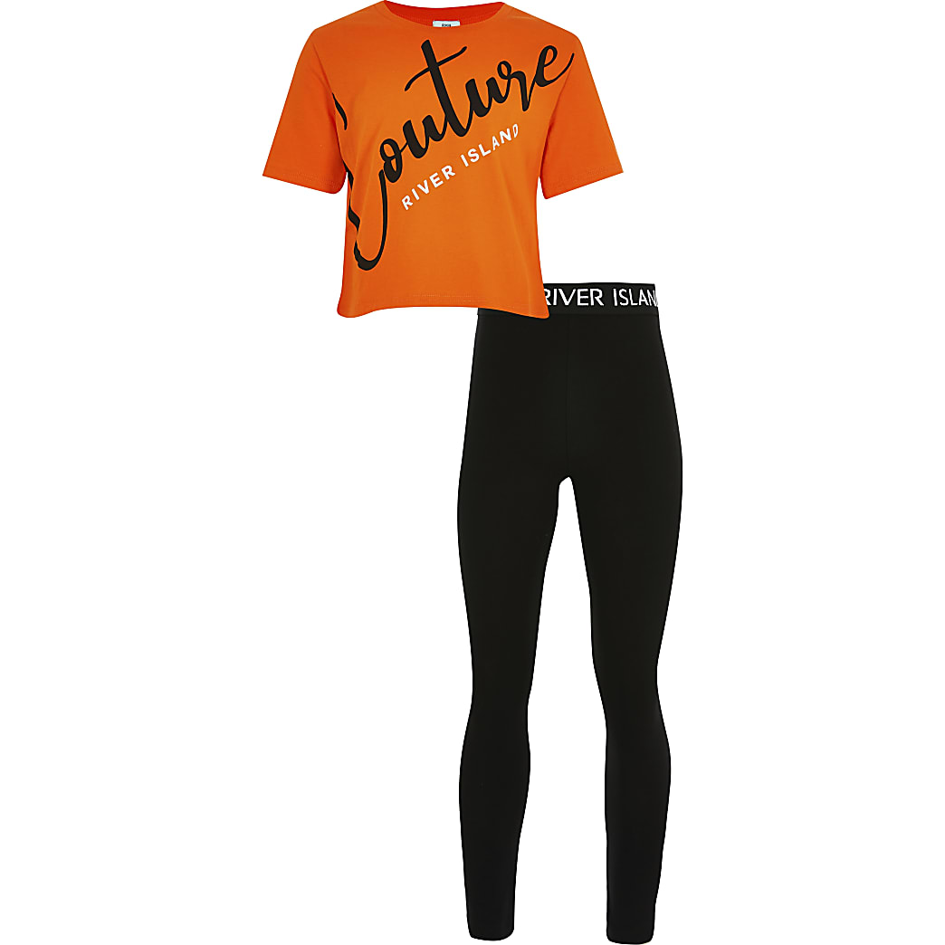 Girls orange 'Couture' print t-shirt outfit