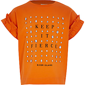 Girls orange embellished frill T-shirt