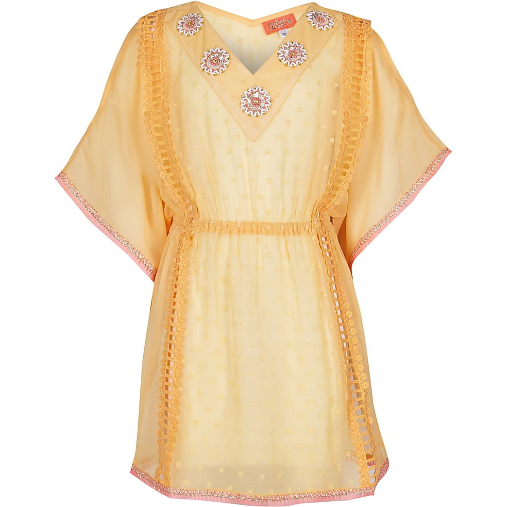 Girls orange embellished kaftan