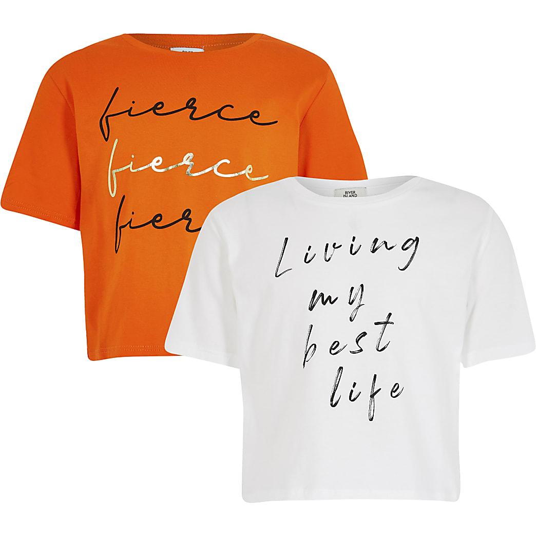 Girls orange 'Fierce' t-shirt 2 pack