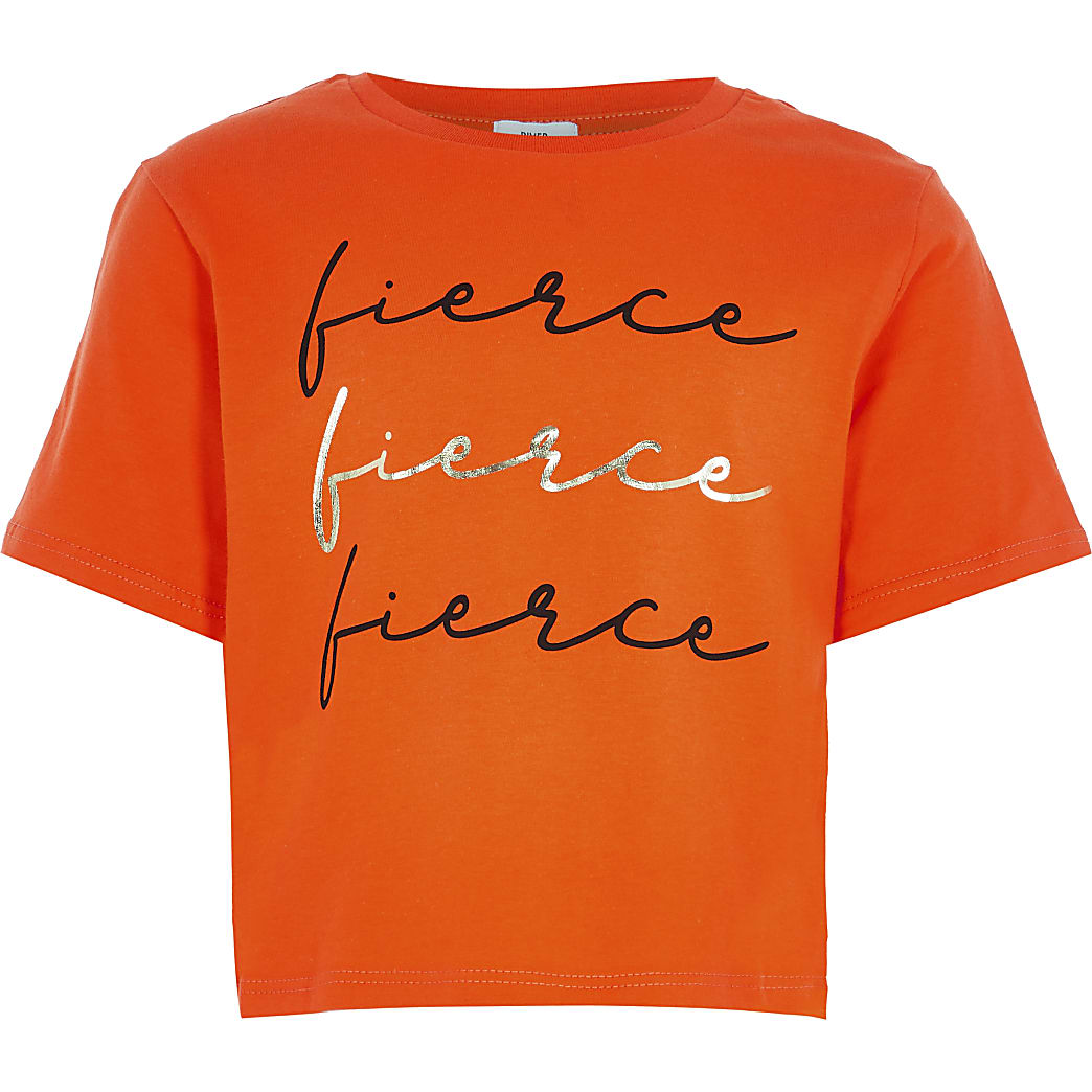 Girls orange 'Fierce' t-shirt