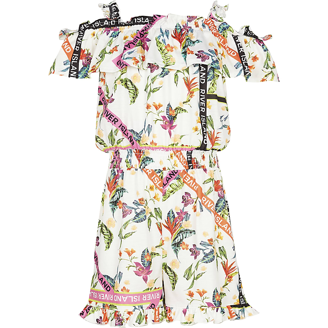 Girls orange floral bardot playsuit
