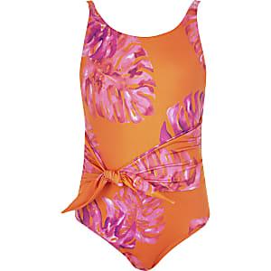 Oranger Badeanzug mit Blumenmuster zum Binden für Mädchen