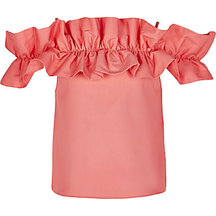 Girls orange frill bardot top