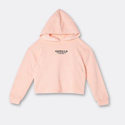 Girls orange 'kindness club' washed hoodie