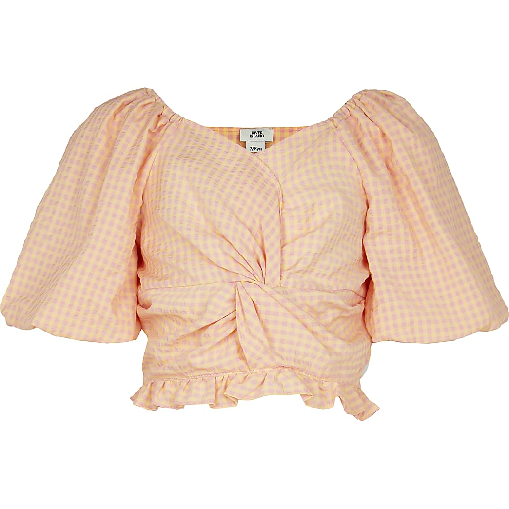 Girls orange knot front puff sleeve top